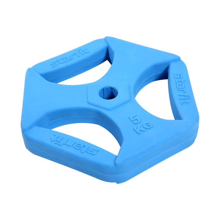 Диск обрезиненный с хватами BB-205 5 кг, d=26 мм, без стальной втулки, синий