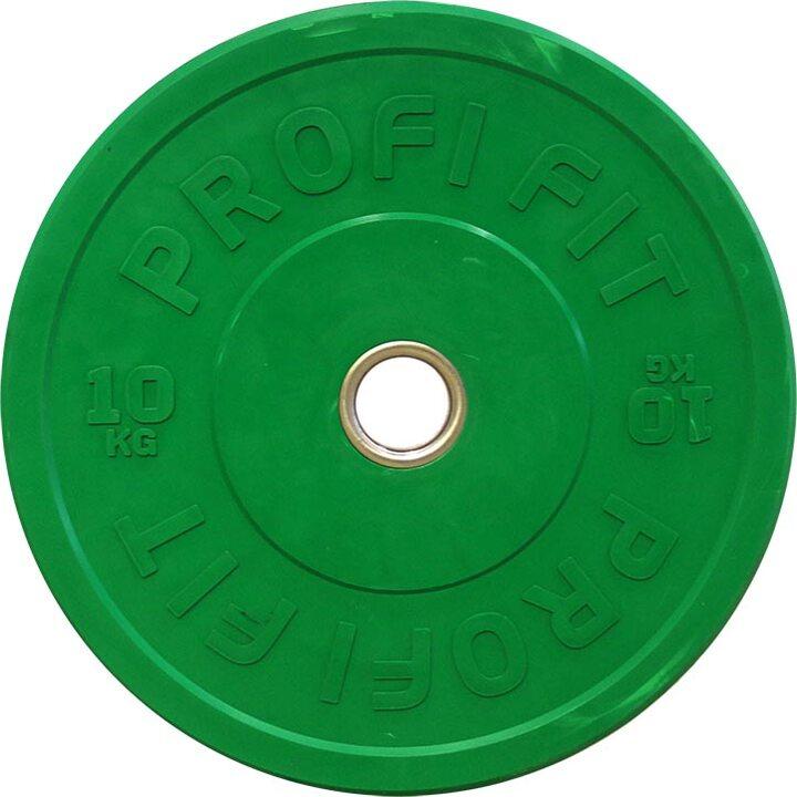 Бамперный диск для штанги каучуковый, зеленый, JAGUAR-SPORT D-51, 10 кг