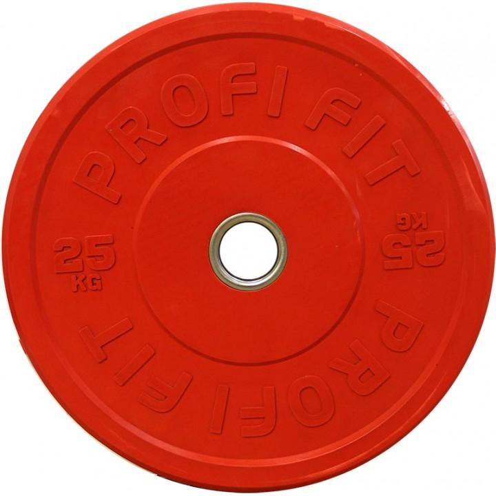 Бамперный диск для штанги каучуковый, красный, JAGUAR-SPORT D-51, 25 кг