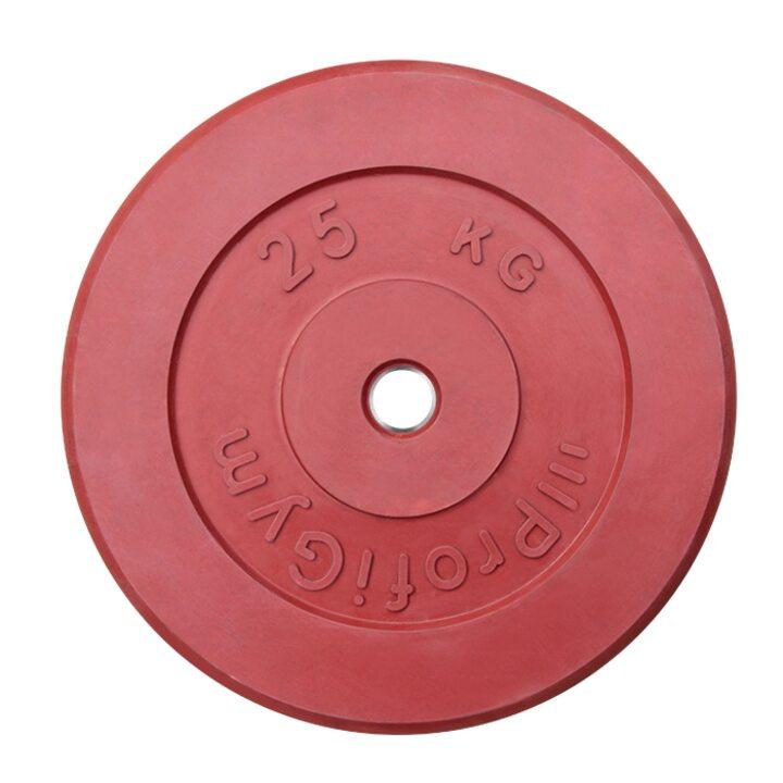 Диск «Profigym» тренировочный обрезиненный 25 кг цветной 26 мм (металлическая втулка)