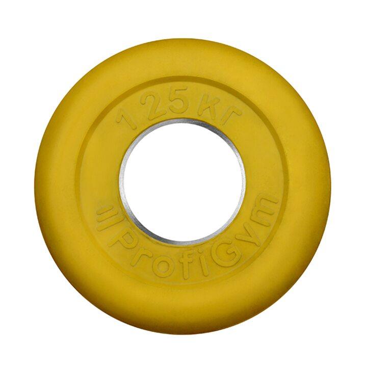 Диск «Profigym» тренировочный обрезиненный 1.25 кг цветной 51 мм (металлическая втулка)