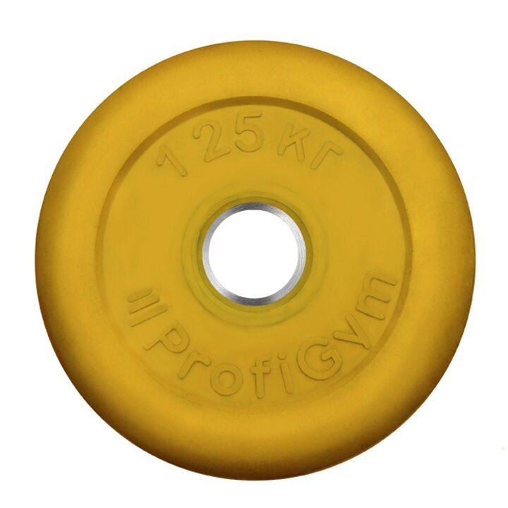 Диск «Profigym» тренировочный обрезиненный 1.25 кг цветной 31 мм (металлическая втулка)