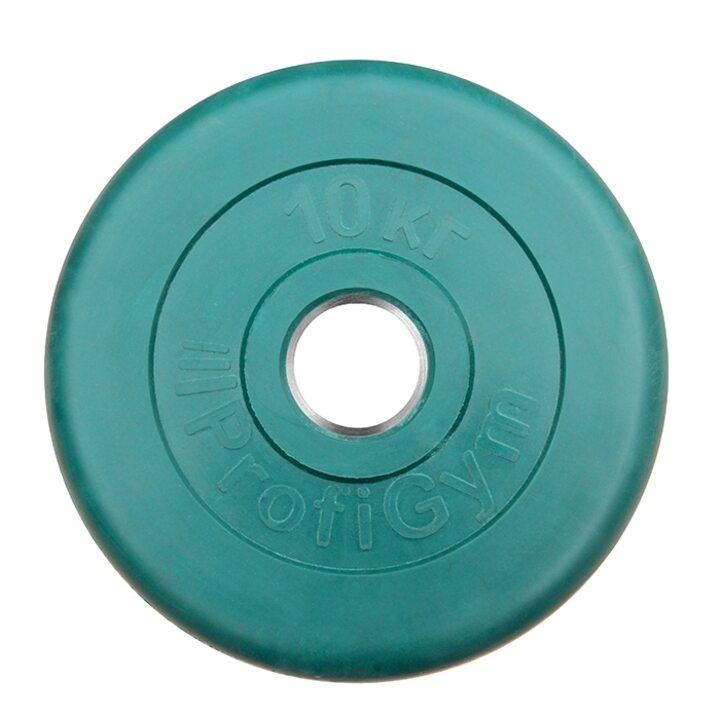 Диск «Profigym» тренировочный обрезиненный 10 кг цветной 51 мм (металлическая втулка)