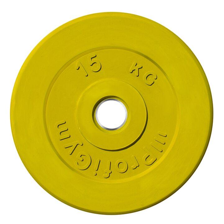 Диск «Profigym» тренировочный обрезиненный 15 кг цветной 51 мм (металлическая втулка)