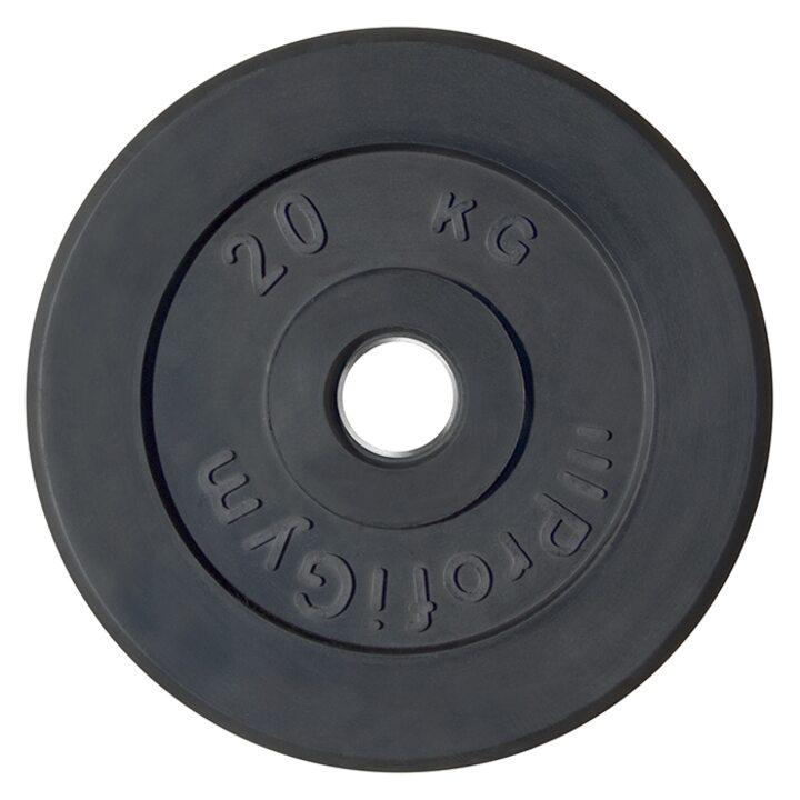 Диск «Profigym» тренировочный обрезиненный 20 кг черный 51 мм (металлическая втулка)