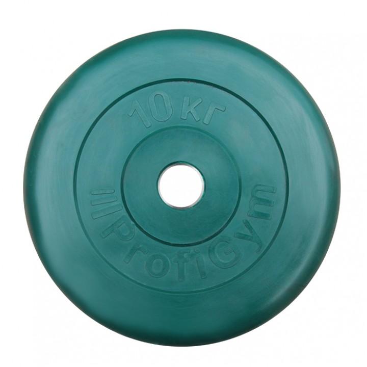 Диск «Profigym» тренировочный обрезиненный 10 кг цветной 31 мм (металлическая втулка)