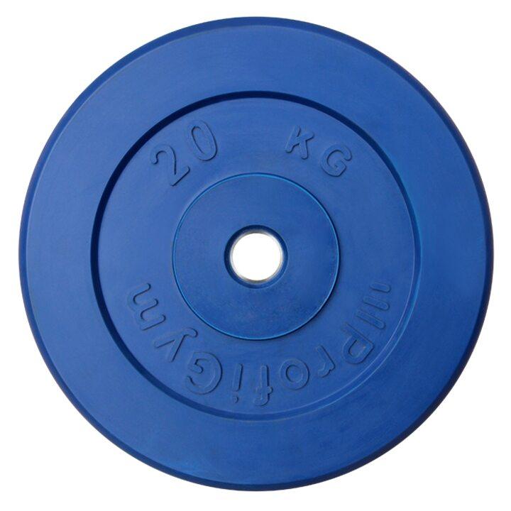 Диск «Profigym» тренировочный обрезиненный 20 кг цветной 26 мм (металлическая втулка)