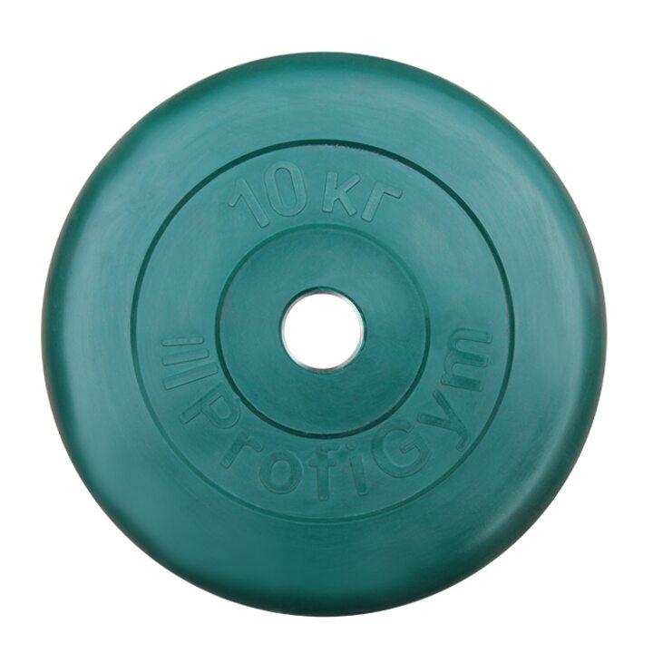 Диск «Profigym» тренировочный обрезиненный 10 кг цветной 26 мм (металлическая втулка)