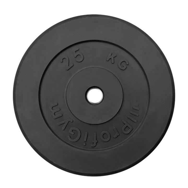 Диск «Profigym» тренировочный обрезиненный 25 кг черный 26 мм (металлическая втулка)
