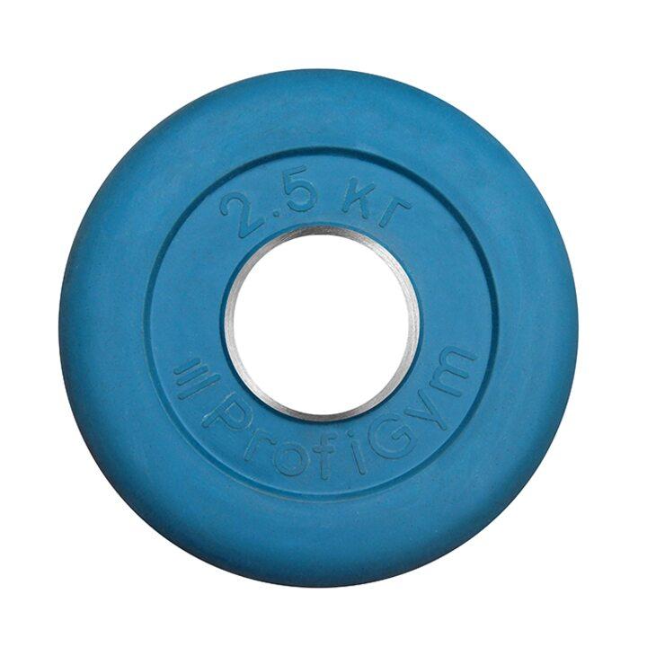 Диск «Profigym» тренировочный обрезиненный 2.5 кг цветной 51 мм (металлическая втулка)