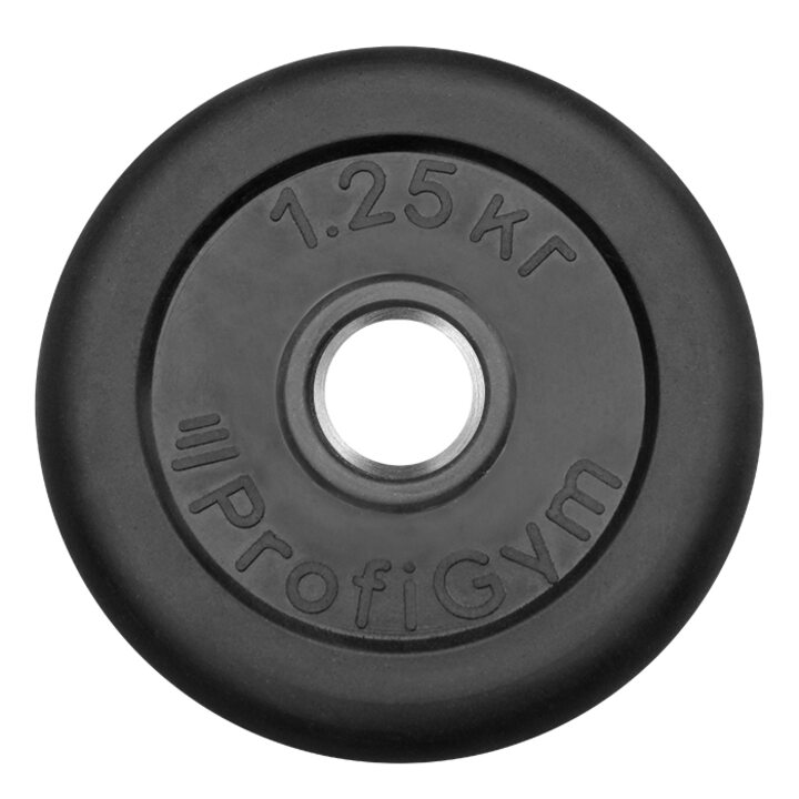 Диск «Profigym» тренировочный обрезиненный 1.25 кг черный 26 мм (металлическая втулка)