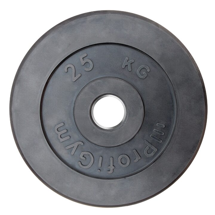 Диск «Profigym» тренировочный обрезиненный 25 кг черный 51 мм (металлическая втулка)