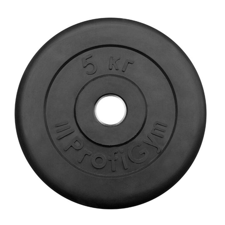 Диск «Profigym» тренировочный обрезиненный 5 кг черный 26 мм (металлическая втулка)