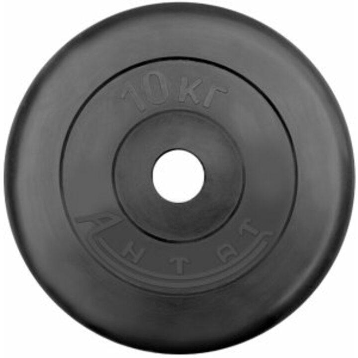 Диск тренировочный обрезиненный  Россия 10 кг, посадочный диаметр 26