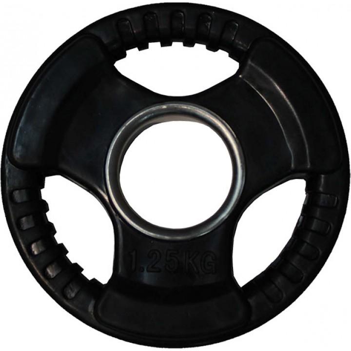 """Диск обрезиненный JAGUAR-SPORT черный """"3 HANDLE"""" D-51, 1,25 кг"""