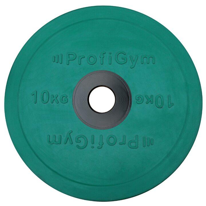 Диск для штанги олимпийский Profigym 10 кг, зеленый