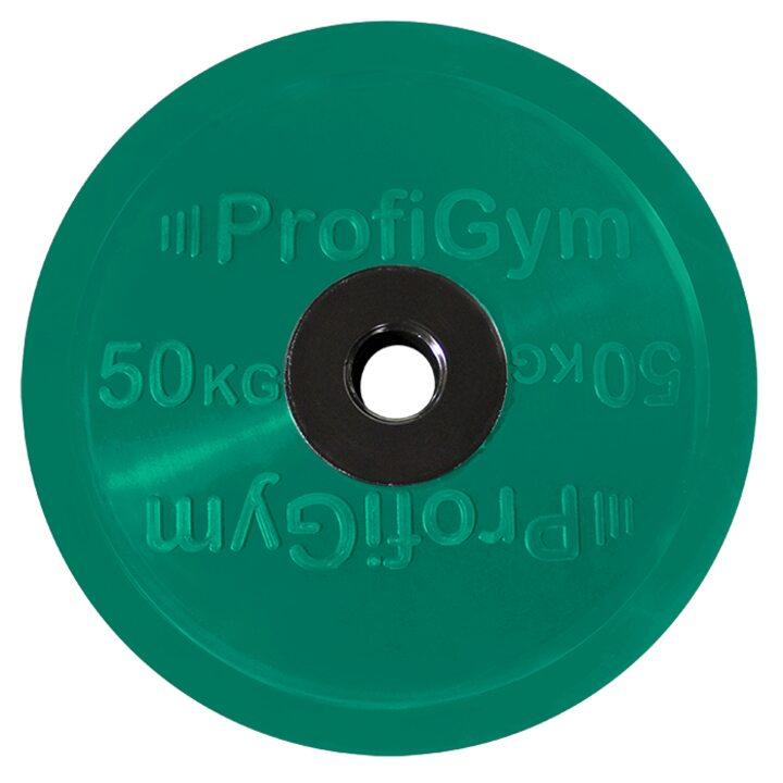 Диск для штанги олимпийский Profigym 50 кг, зеленый