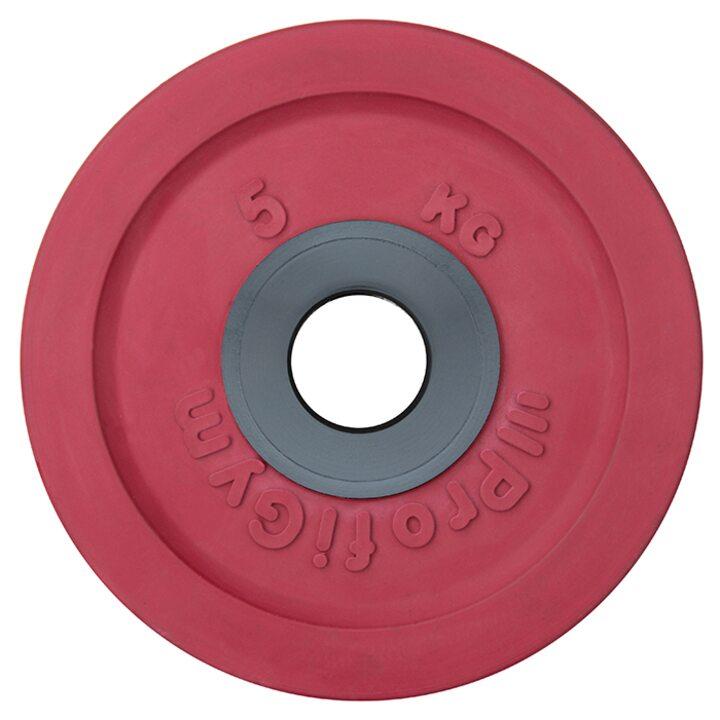 Диск для штанги олимпийский Profigym 5 кг, красный
