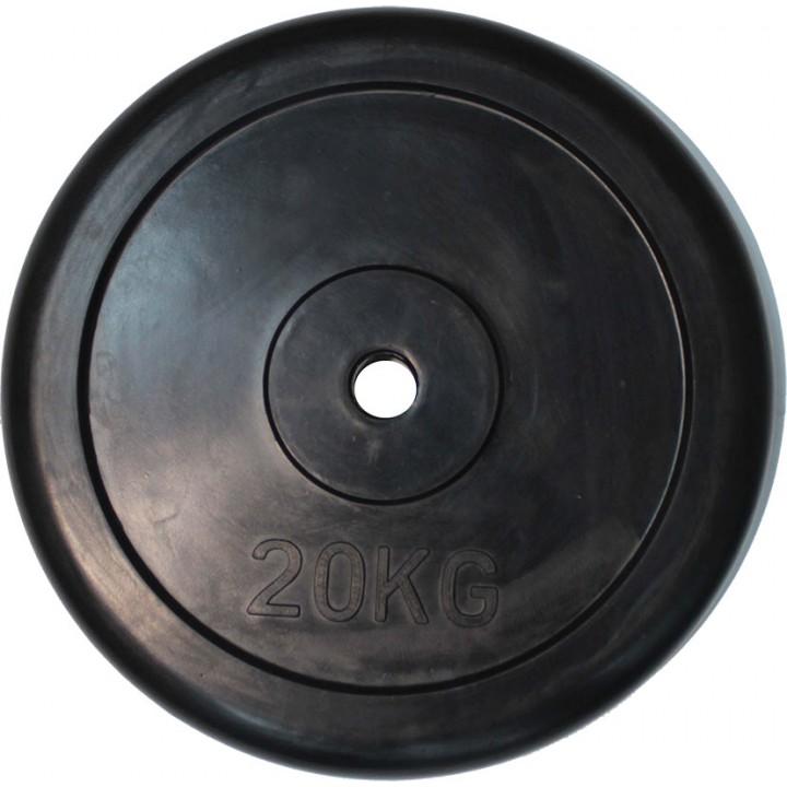 """Диск обрезиненный JAGUAR-SPORT черный """"Classic"""" D-26, 20 кг"""