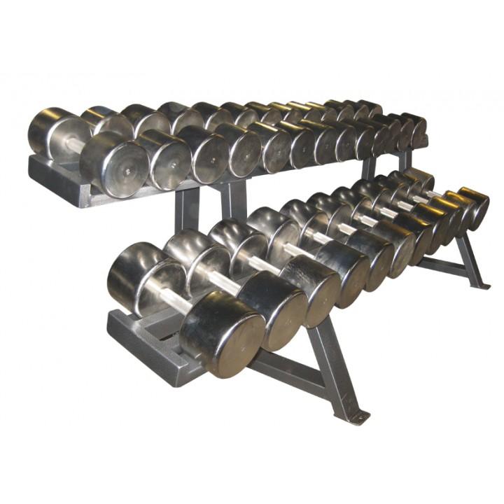 Гантельный ряд PROFIGYM хромированный, от 2,5 до 30 кг, шаг 2,5 кг (12 пар), на двухрядном стеллаже длиной 160 см
