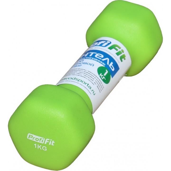 Гантель в виниловой оболочке JAGUAR-SPORT 1 кг, форма шестигранник, зеленый