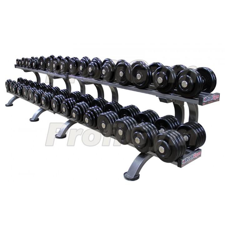 Гантельный ряд PROFIGYM обрезиненный, от 6 до 46 кг, шаг 2,5 кг (17 пар), на двух двухъярусных стеллажах общей длиной 370 см