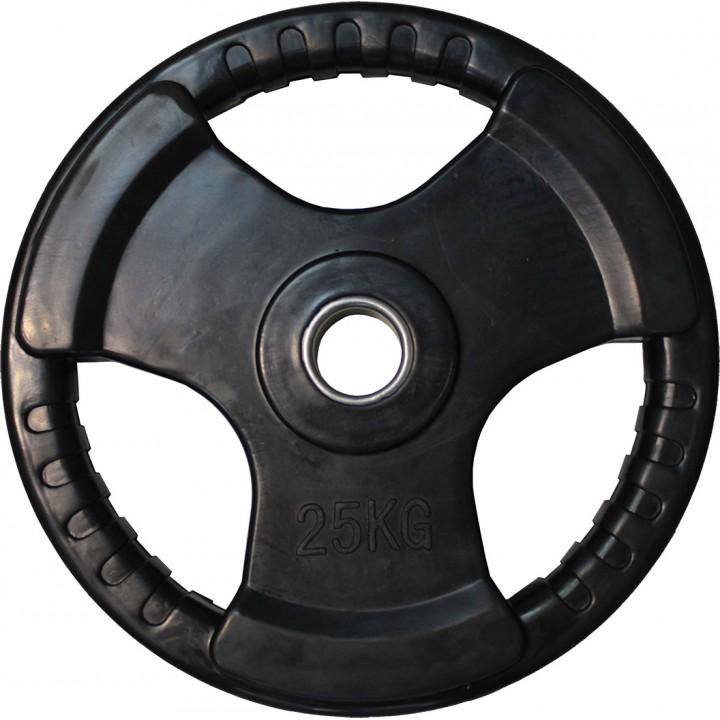 """Диск обрезиненный JAGUAR-SPORT черный """"3 HANDLE"""" D-51, 25 кг"""