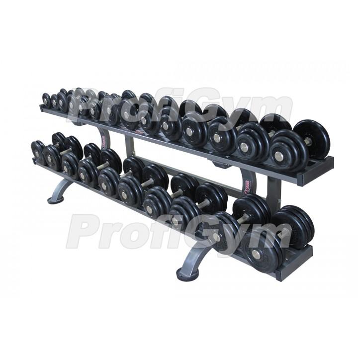 Гантельный ряд PROFIGYM обрезиненный, от 3,5 до 31 кг, шаг 2,5 кг (12 пар), на двухъярусном стеллаже длиной 260 см
