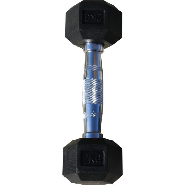 Гантель гексагональная обрезиненная JAGUAR-SPORT, 2 кг