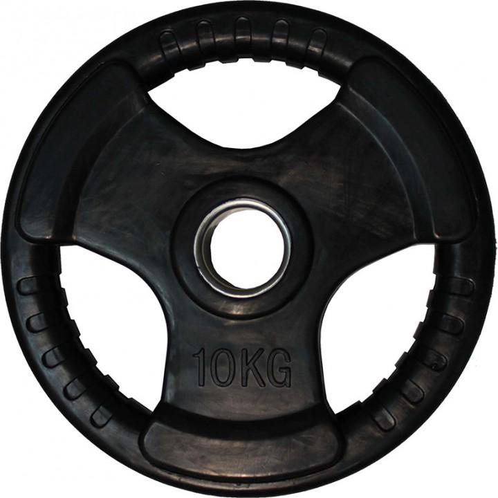 """Диск обрезиненный JAGUAR-SPORT черный """"3 HANDLE"""" D-51, 10 кг"""