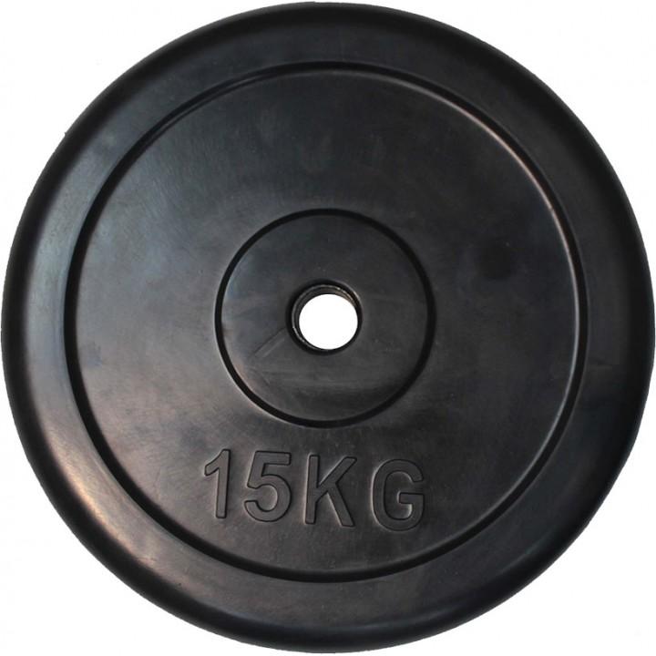 """Диск обрезиненный JAGUAR-SPORT черный """"Classic"""" D-26, 15 кг"""
