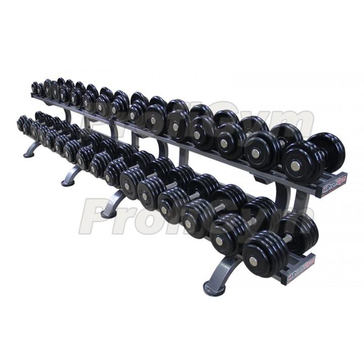 Гантельный ряд PROFIGYM обрезиненный, от 8,5 до 41кг, шаг 2,5 кг (14 пар), на двухъярусном стеллаже длиной 310 см