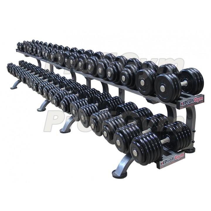 Гантельный ряд PROFIGYM обрезиненный, от 8,5 до 56 кг, шаг 2,5 кг (20 пар), на двух двухъярусных стеллажах общей длиной 450 см