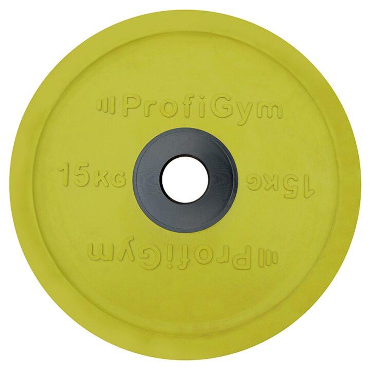 Диск для штанги олимпийский Profigym 15 кг, желтый
