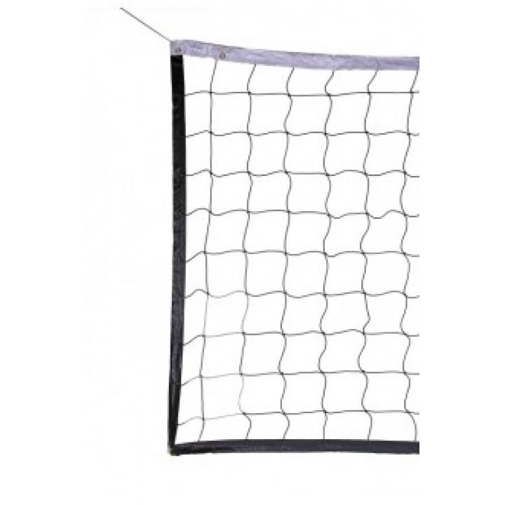 Сетка волейбол Д=3,0 мм яч. 100*100 черный Разм. 1,0*9,5 м обш. с 4-х сторн, верх/низ лента 5 см ПП JAGUAR-SPORT
