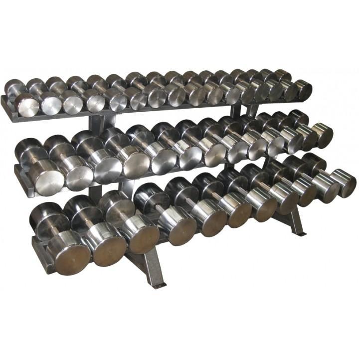 Гантельный ряд PROFIGYM хромированный, от 12,5 до 60 кг, шаг 2,5 кг (20 пар), на трехрядном стеллаже длиной 250 см