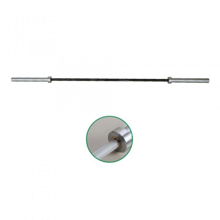 Гриф олимпийский женский 2010 мм тяжелый хром с черной ручкой (10 подшипников) JAGUAR-SPORT
