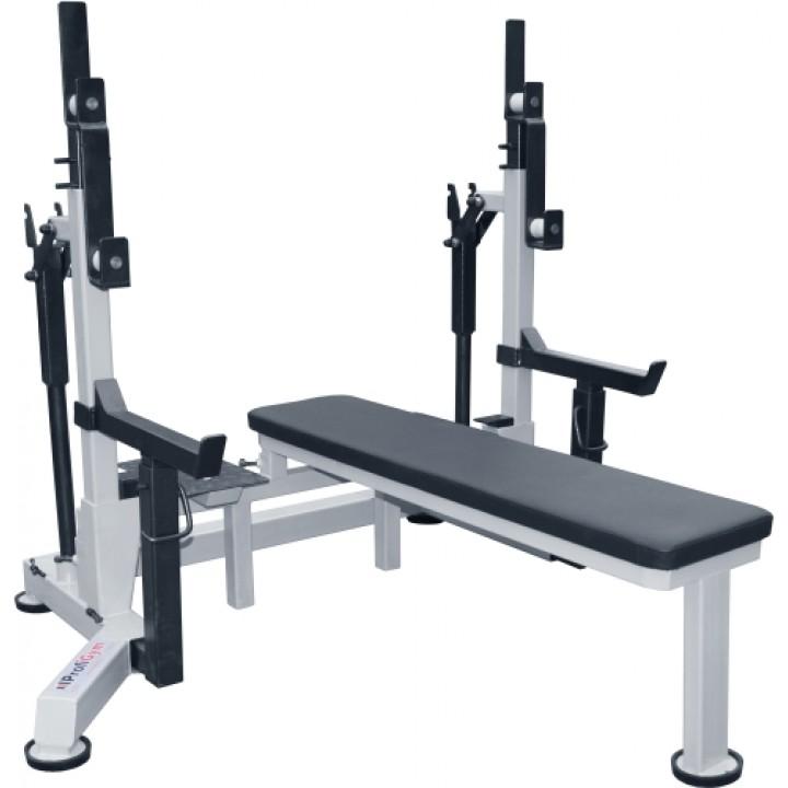 Стойка домкратная для пауэрлифтинга со скамьей и страховочными упорами ProfiGym ПЛ-0040-F