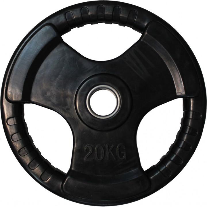 """Диск обрезиненный JAGUAR-SPORT черный """"3 HANDLE"""" D-51, 20 кг"""