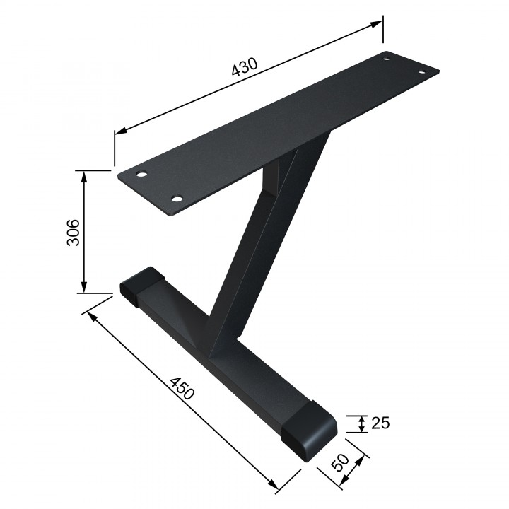 Опора для бревна гимнастического металлическая 306 мм