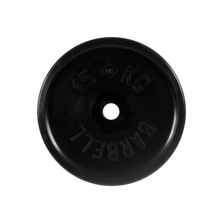 """Диск обрезиненный """"Евро-классик"""" МВ Barbell 15 кг, чёрный, 51 мм"""