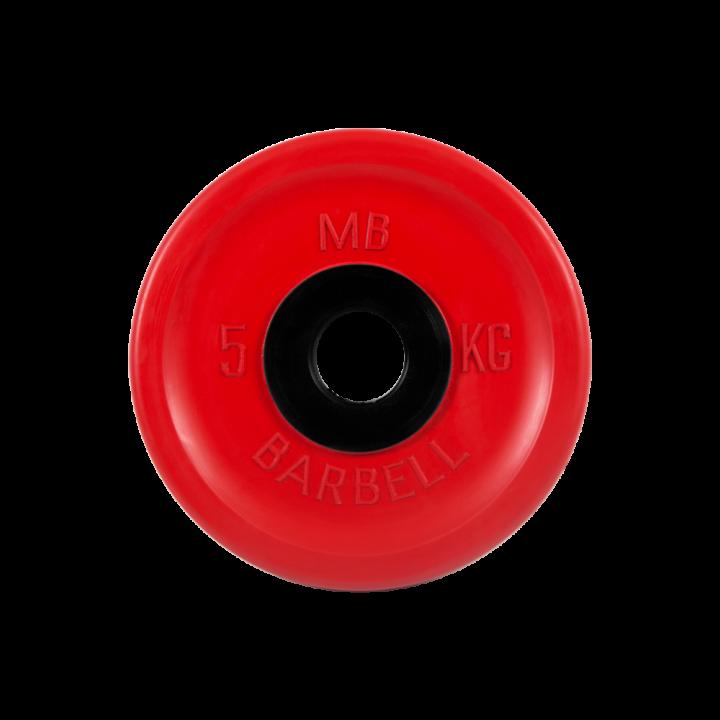 """Диск обрезиненный """"Евро-классик"""" МВ Barbell 5 кг, красный, 51 мм"""