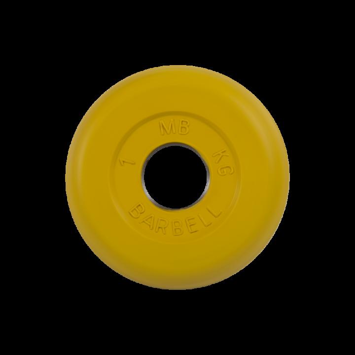 """Диск обрезиненный """"Стандарт"""" МВ Barbell 1 кг, жёлтый, 26 мм"""