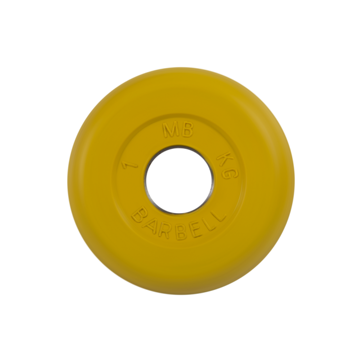 """Диск обрезиненный """"Стандарт"""" МВ Barbell 1 кг, жёлтый, 31 мм"""