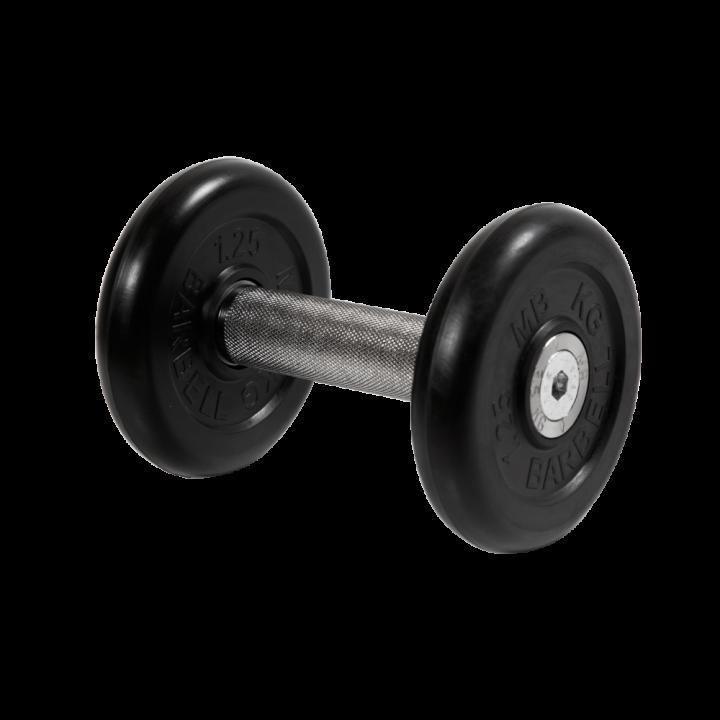 """Гантель """"Профи"""" МВ Barbell 3.5 кг с вращающейся хромированной ручкой, чёрная"""