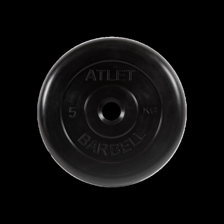 """Диск обрезиненный """"Атлет"""" МВ Barbell 5 кг, чёрный, 26 мм"""