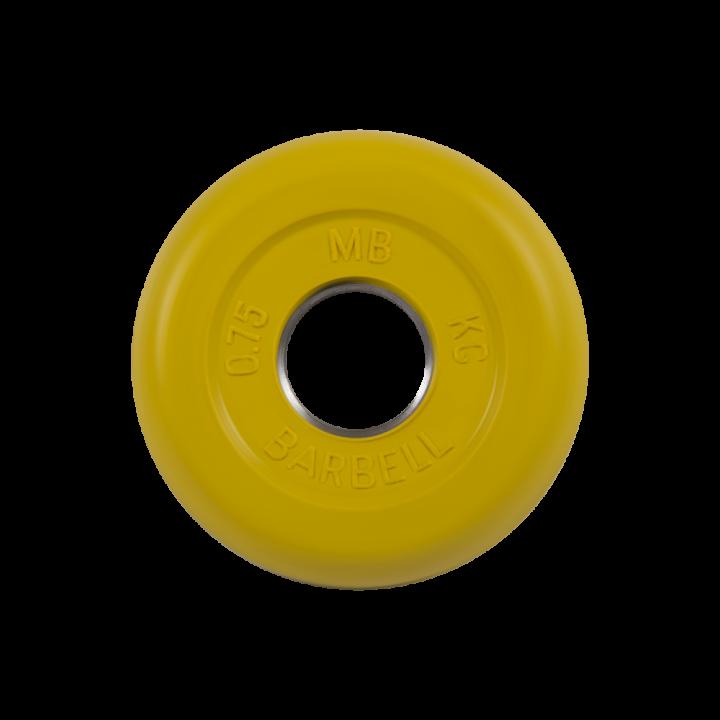 """Диск обрезиненный """"Стандарт"""" МВ Barbell 0.75 кг, жёлтый, 26 мм"""