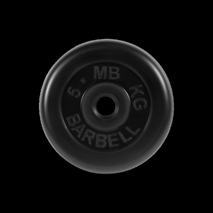 """Диск обрезиненный """"Стандарт"""" МВ Barbell 5 кг, чёрный, 26 мм"""