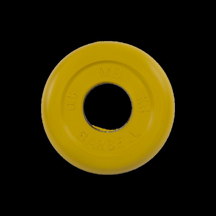 """Диск обрезиненный """"Стандарт"""" МВ Barbell 0.5 кг, жёлтый, 31 мм"""