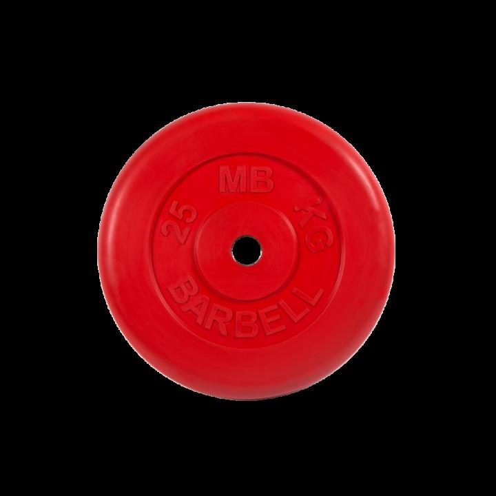 """Диск обрезиненный """"Стандарт"""" МВ Barbell 25 кг, красный, 26 мм"""